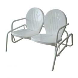 Buffalo Tools Porch Patio Backyard Poolside Double Seat Glider Chair White
